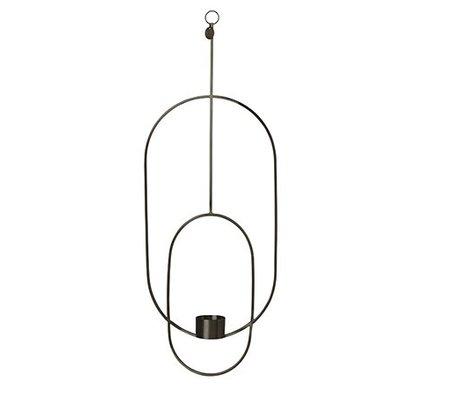 Ferm Living Waxinelichthouder Deco ovaal zwart metaal 18.5x42x50cm