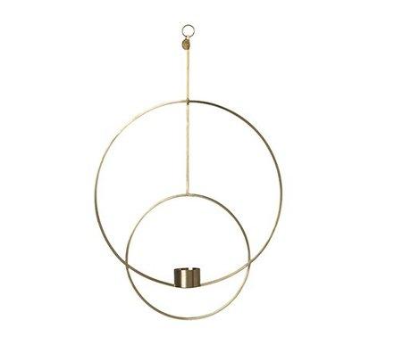 Ferm Living Waxinelichthouder Deco cirkel goud metaal 30x45x4.5