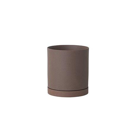 Ferm Living Flower pot Sekki red brown ceramic large Ø15,7x17,7cm - Copy