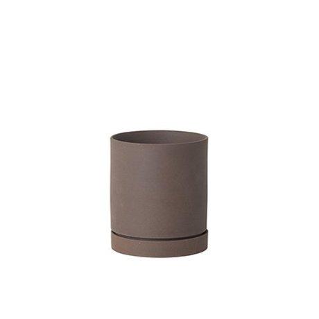 Ferm Living Flowerpot sekki céramique rouge-brun grand Ø15,7x13.5cm
