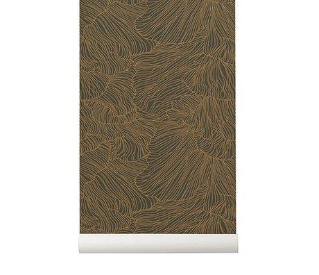 Ferm Living Behang Coral donker groen goud 53x1000cm