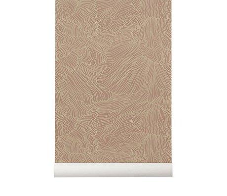 Ferm Living Coral rosa Tapete beige 53x1000cm