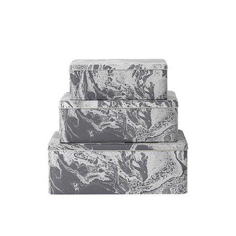 Ferm Living Set van 3 metalen opbergblikjes marble