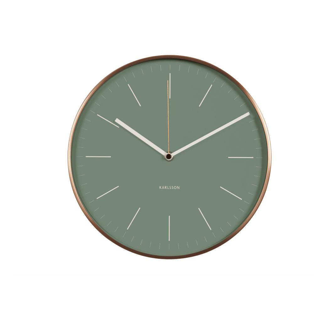 karlsson horloge murale en acier cuivre vert minimal 27 5cm wonen met lef. Black Bedroom Furniture Sets. Home Design Ideas