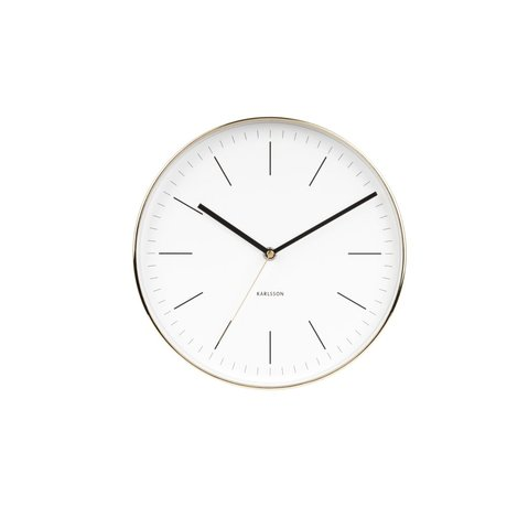 Karlsson Wall clock Minimal white gold steel Ø27.5cm