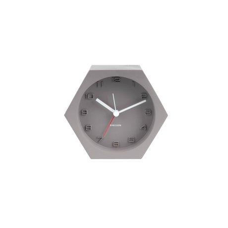 Karlsson Alarm klok Hexagon grijs beton 10x11,5cm
