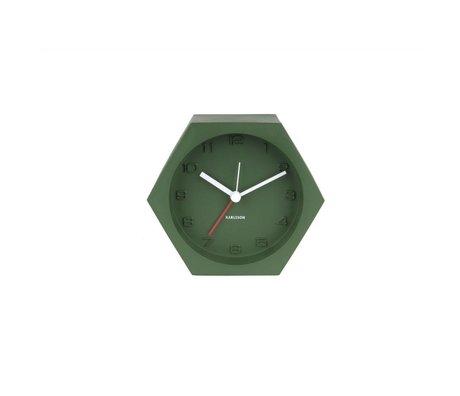 Karlsson Alarm clock Hexagon green concrete 10x11,5cm