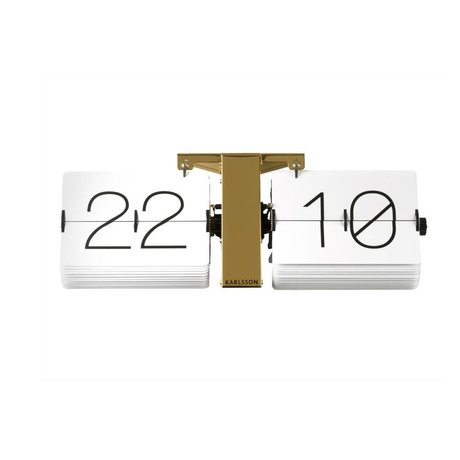 Karlsson Flip Clock No Case Gold Steel 14x36cm