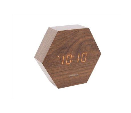 Karlsson Tabelle / Wecker Hexagon braunes Holz 11x13cm