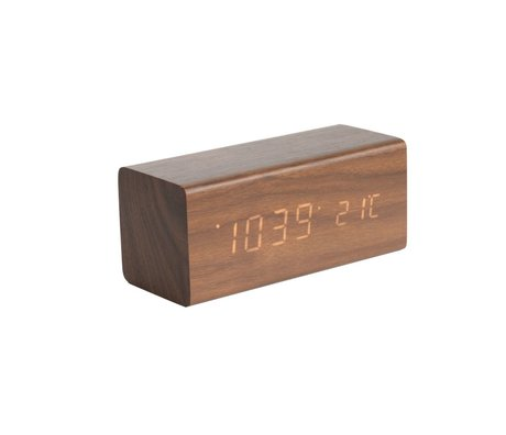 Karlsson Table / Alarm clock Block brown wood 7.2x16cm