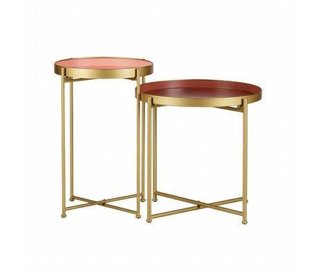 LEF collections Beistelltisch Jules Rotgold Metall 2er-Set