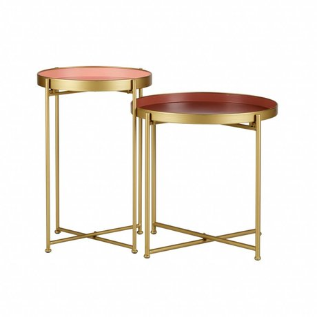 LEF collections Side table Jules pink gold metal set of 2