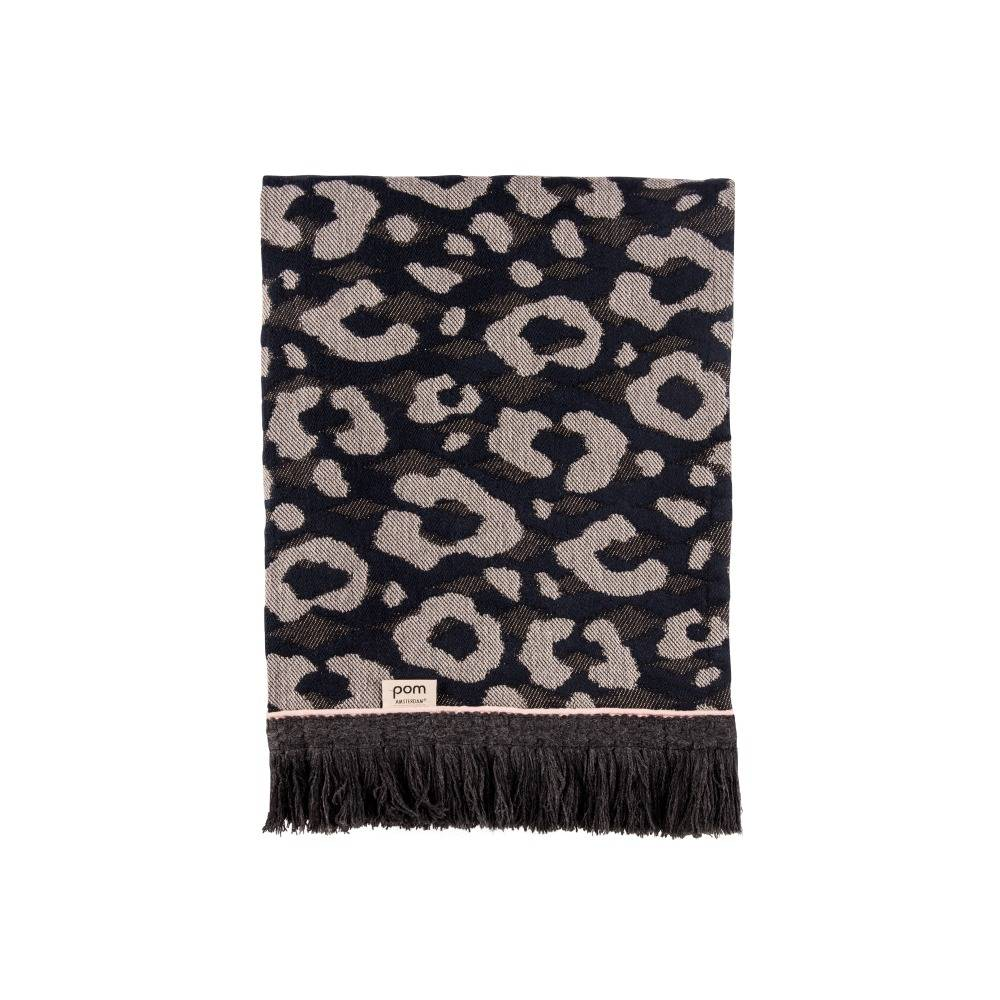 pom amsterdam plaid leopard throw antraciet wol 140x120cm. Black Bedroom Furniture Sets. Home Design Ideas