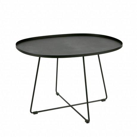 LEF collections Bijzettafel Otis (tuin) XL zwart metaal 70x60x47cm