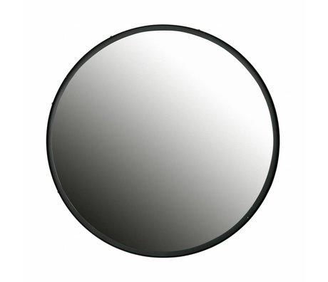 LEF collections Lauren miroir métal noir ø80cm