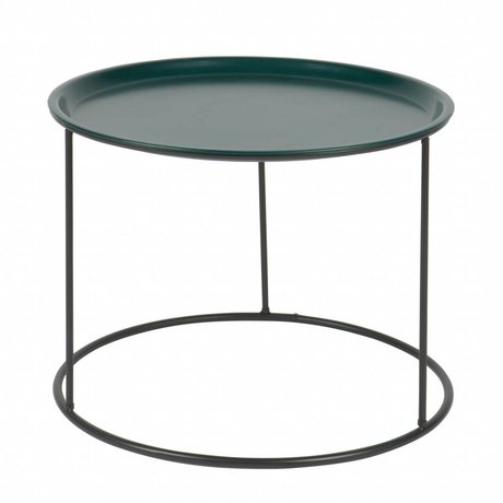 LEF collections Side table Ivar L petrol blue metal 37,5x56x56cm