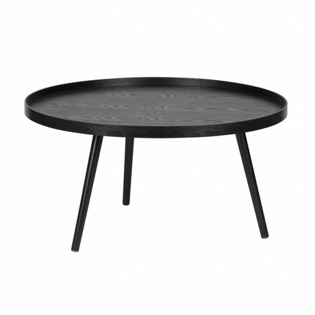 LEF collections Side table Mesa XL black wood ø78x39cm