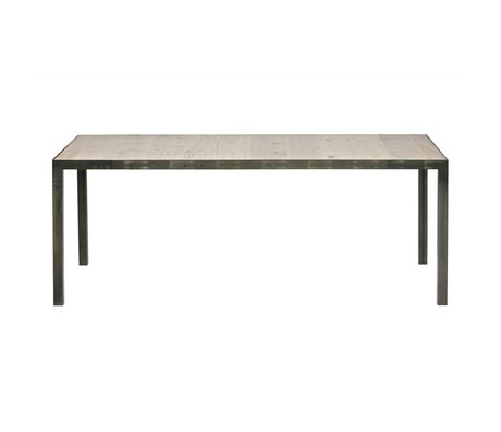 LEF collections Dining table station brown wood metal 76,5x216x90cm