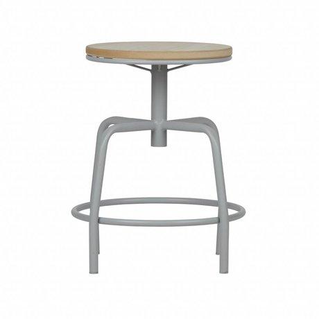 LEF collections Hocker Emiel beton grau Metall Holz 48,5x38x38cm