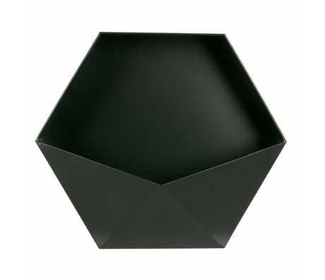 LEF collections Wanddeco Puck XL black metal 39x45x18,5cm