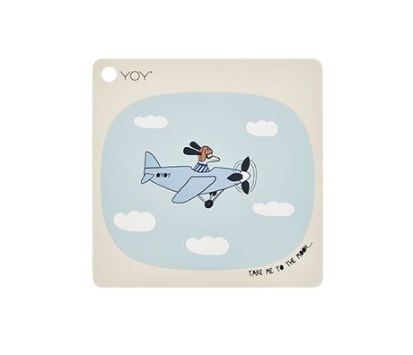 OYOY Placemat Take me to the moon creme silicone 38x38cm