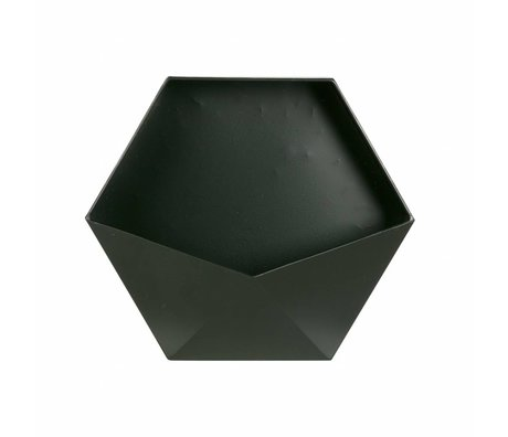 LEF collections Wanddeko Puck L schwarz Metall 30,5x35x13,5cm