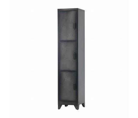 LEF collections Locker Cas 3 Türen schwarz Metall 180x38x45,5cm