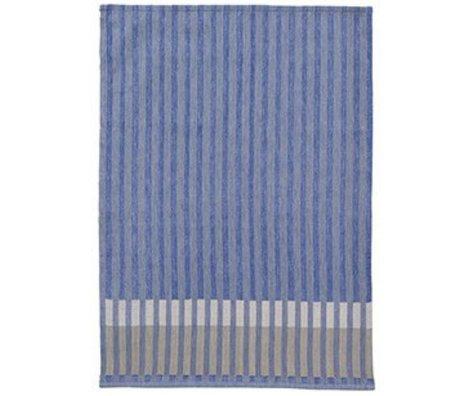 Ferm Living Theedoek Grain Jacquard korrel blauw katoen 50x70cm