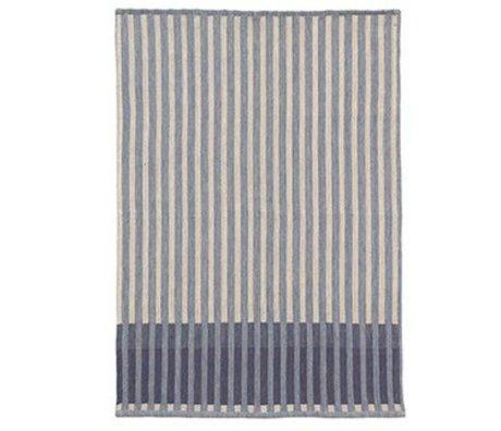 Ferm Living Theedoek Grain Jacquard blauw katoen 70x50cm