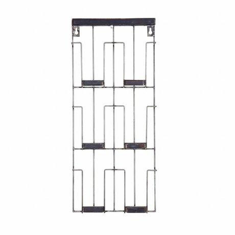 BePureHome Kaartenrek Papier schwarz Metall 24x55x4.5cm