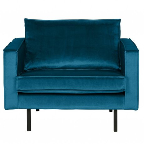 BePureHome Fauteuil Rodeo bleu velours velours 105x86x85cm