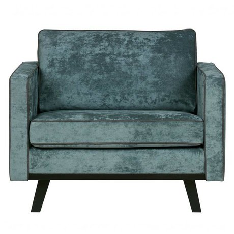 BePureHome Armchair Rebel brushed petrol blue polyester wood 85x105x86cm