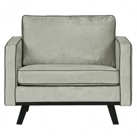 BePureHome Sessel Rebel gebürsteten grünen Polyester Holz 85x105x86cm verblasste