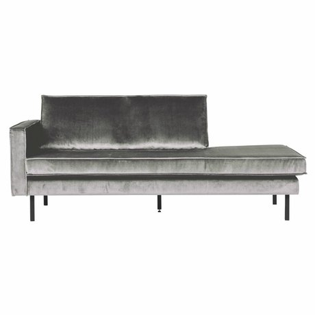 BePureHome Bank Daybed links Mitte grauen Samt Samt 203x86x85cm