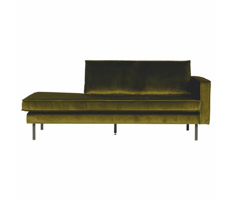 BePureHome Banque Daybed droit velours velours vert olive 203x86x85cm