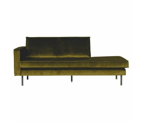BePureHome Banque Daybed gauche velours velours vert olive 203x86x85cm