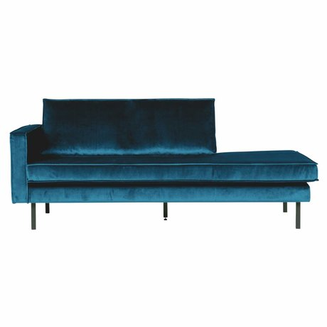 BePureHome Bank Daybed links blauer Samt Samt 203x86x85cm