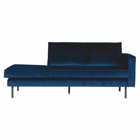 BePureHome Banque Daybed droit Nightshade velours velours bleu foncé 203x86x85cm