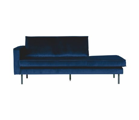 BePureHome Banque Daybed gauche velours velours bleu foncé Nightshade 203x86x85cm