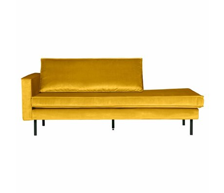 BePureHome Bank Daybed left ocher yellow velvet velvet 203x86x85cm