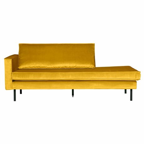 BePureHome Bank Daybed Rodeo links oker geel fluweel velvet 203x86x85cm