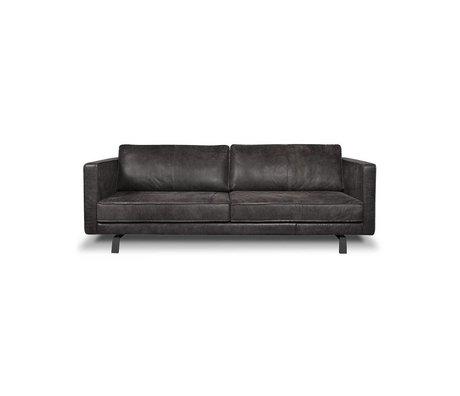 I-Sofa 2,5 places canapé Bjorn 172x96x82cm en cuir noir