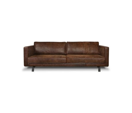 I-Sofa Sofa 3 seater Bjorn cognac brown leather 202x96x82cm