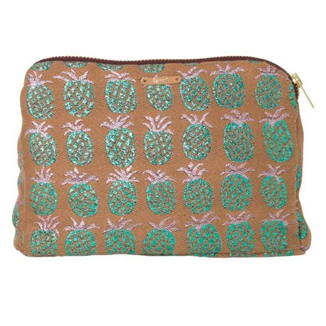 Ferm Living Salon Kosmetiktasche Ananas, orange, grün 22x15.5cm