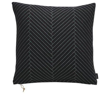 OYOY Coussin moelleux en coton noir Chevrons 50x50