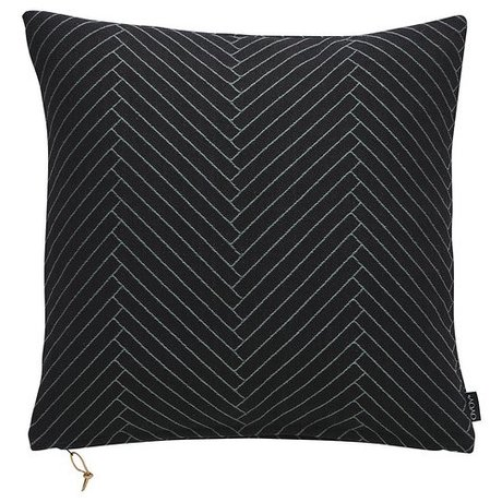 OYOY Ornamental cushion Fluffy Herringbone black cotton 50x50