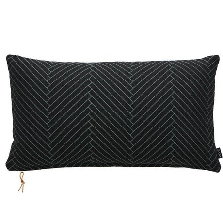 OYOY Ornamental cushion Fluffy Herringbone black cotton 40x70cm