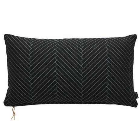 OYOY Sierkussen Fluffy Herringbone zwart katoen 40x70cm