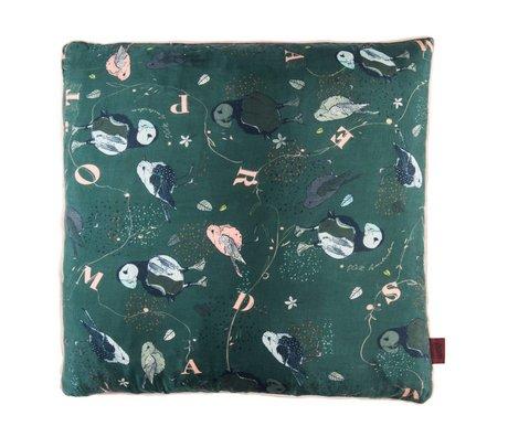 POM Amsterdam Sierkussen Pretty Puffin groen textiel 50x50cm