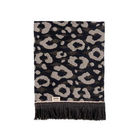 POM Amsterdam Plaid Leopard Throw Anthracite Wool 140x120cm